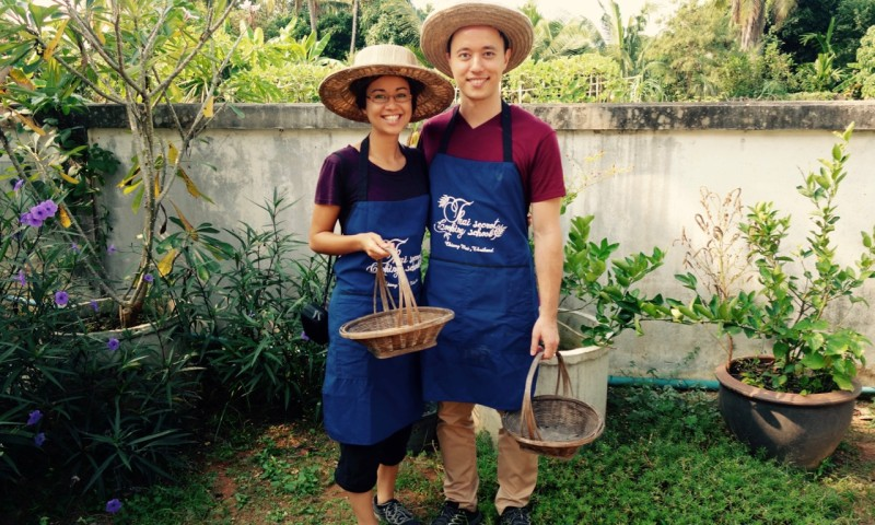 Cooking class: ready to collect fresh herbs and veggies in the garden